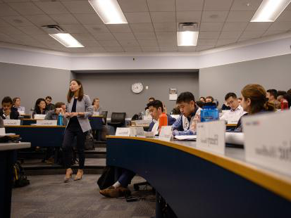 Students in classroom with Professor Tami Kim